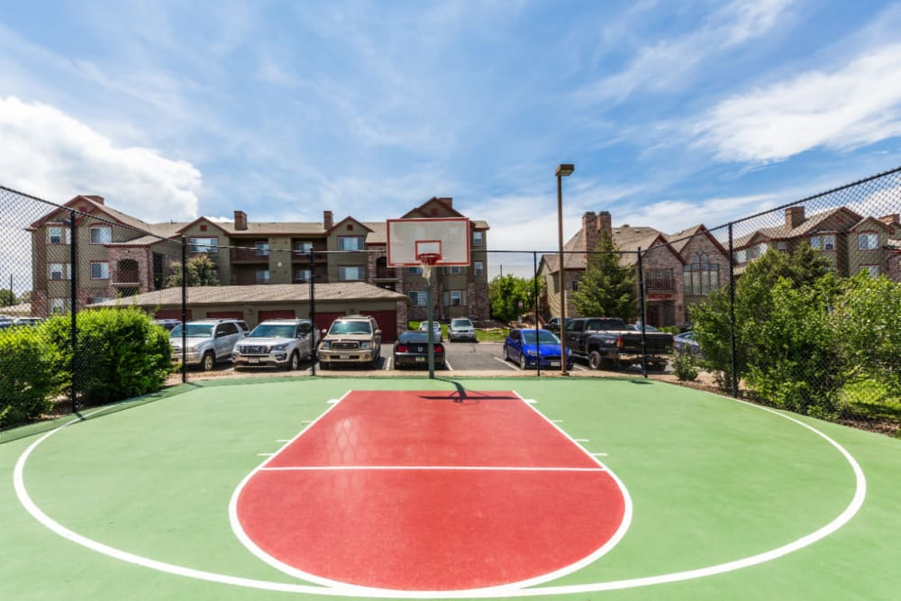 Outdoor basketball court with scenic mountain views at The Links at Plum Creek in Castle Rock, Colorado
