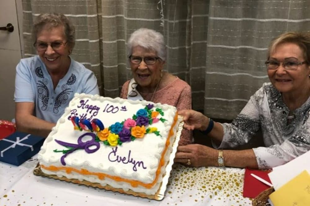 Residents excited for cake at Spring Haven in Winter Haven, Florida