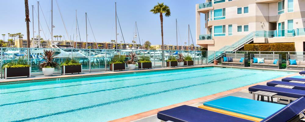 Swimming pool area on a beautiful day at Esprit Marina del Rey in Marina del Rey, California