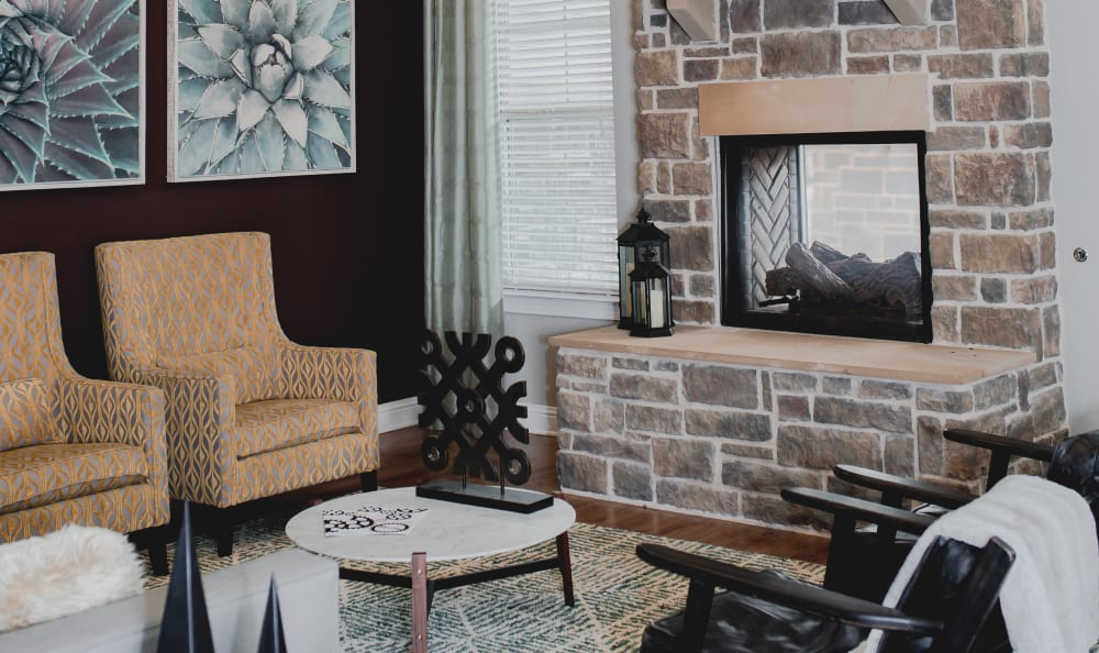 Clubhouse Fireplace and Lounge at Springs at Creekside in New Braunfels, TX