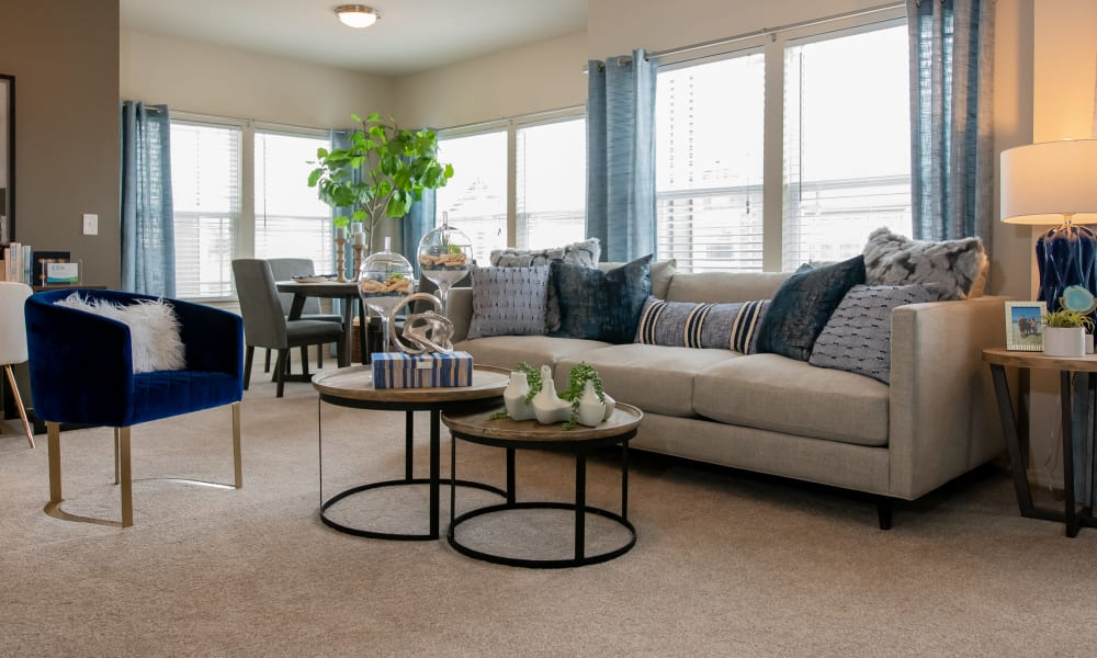 Bright, spacious living room at Cedar Ridge in Tulsa, Oklahoma