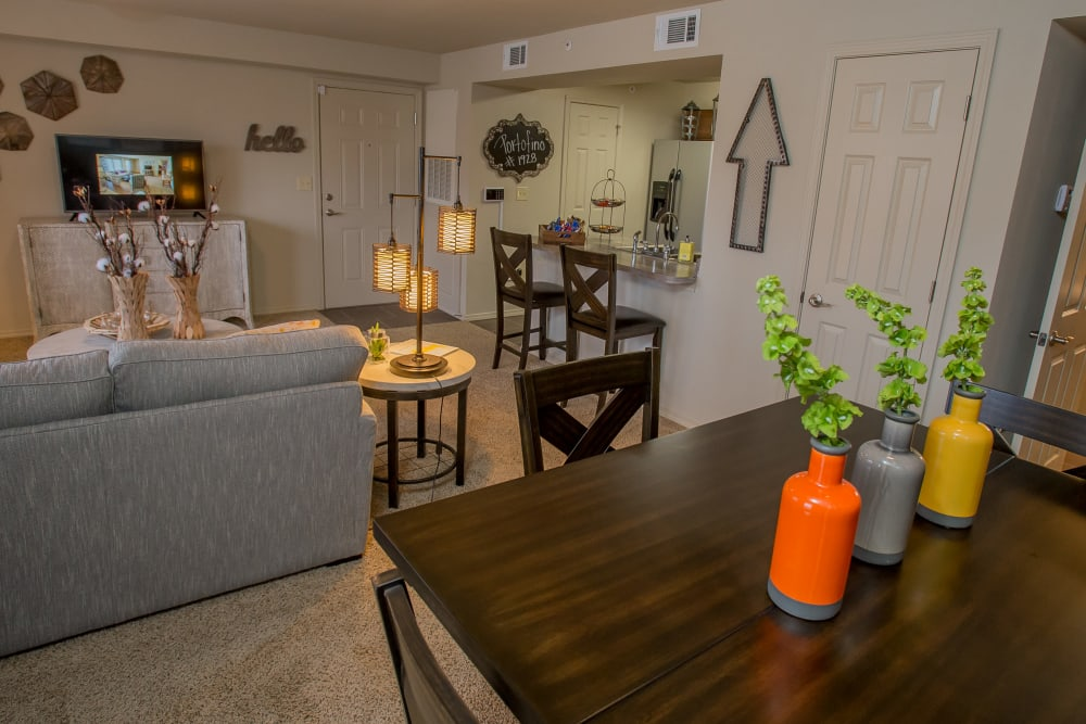 Well decorated dining area at Portofino Apartments in Wichita, Kansas