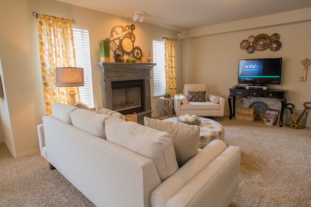 Well-lit living room at Cascata Apartments in Tulsa, Oklahoma
