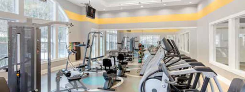 Well equipped fitness center at Ellington Metro West in Westborough, Massachusetts