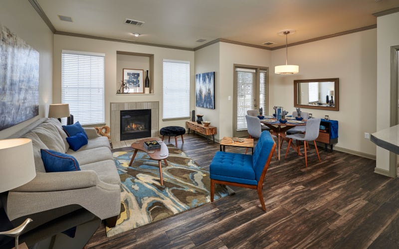 Living room with hardwood-style floors at Gateway Park Apartments in Denver, Colorado