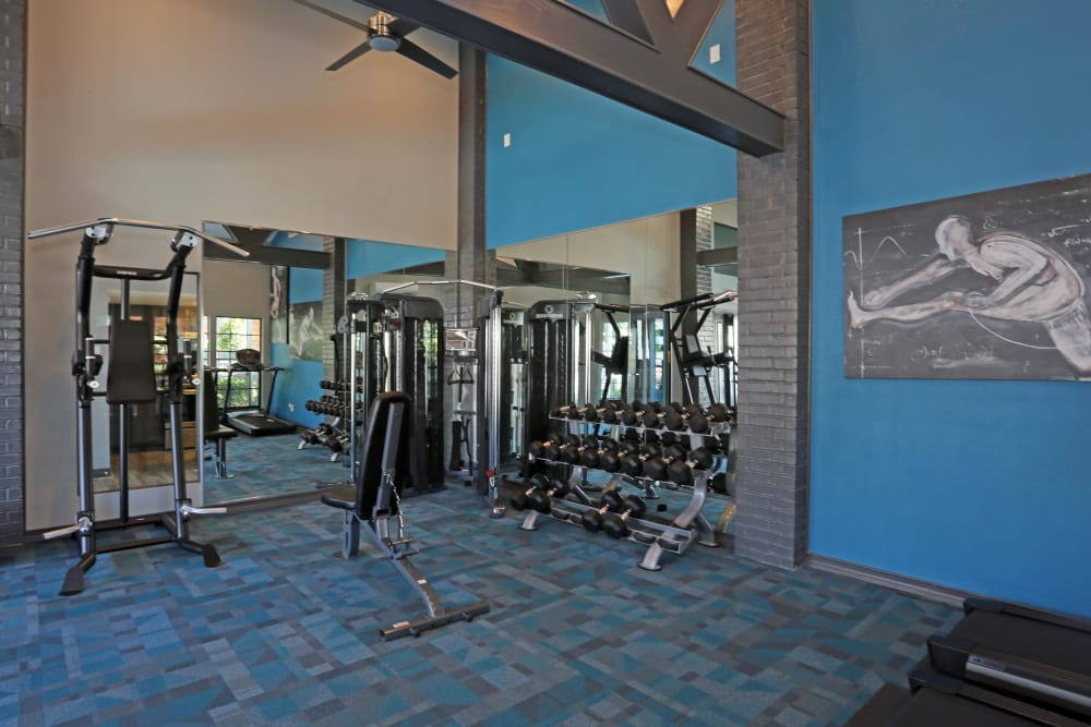 Fully equipped fitness center at 1303 Main in Duncanville, Texas