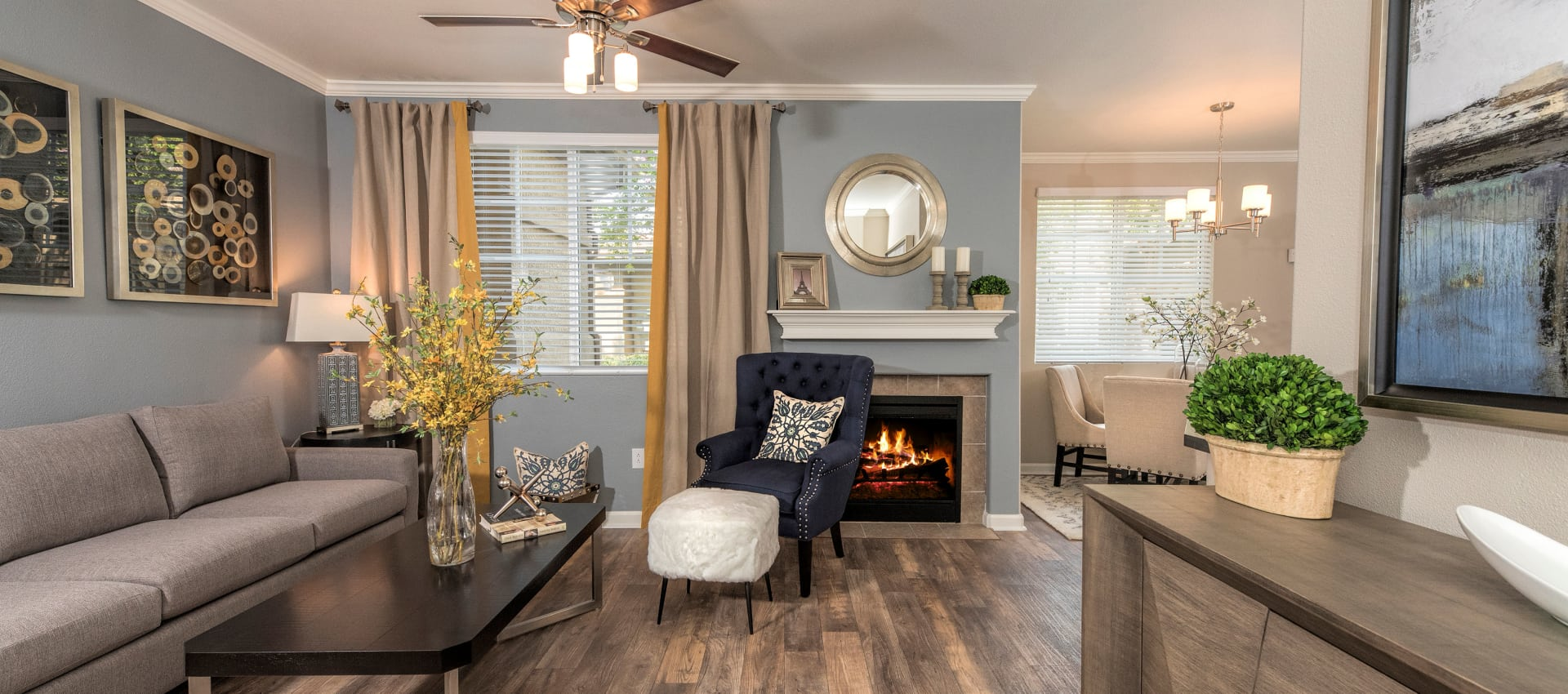 Cozy living room at The Artisan Apartment Homes in Sacramento, California