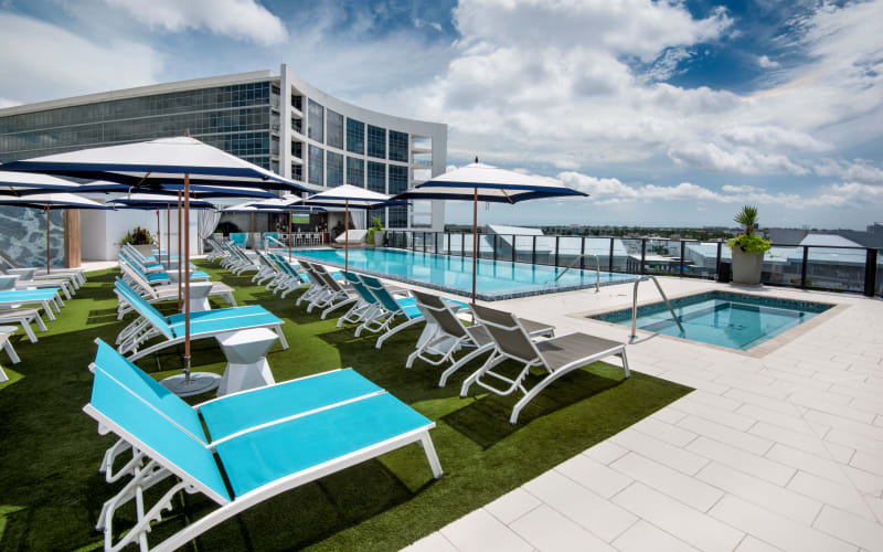 Resort-style swimming pool at The Flats in Doral, Florida