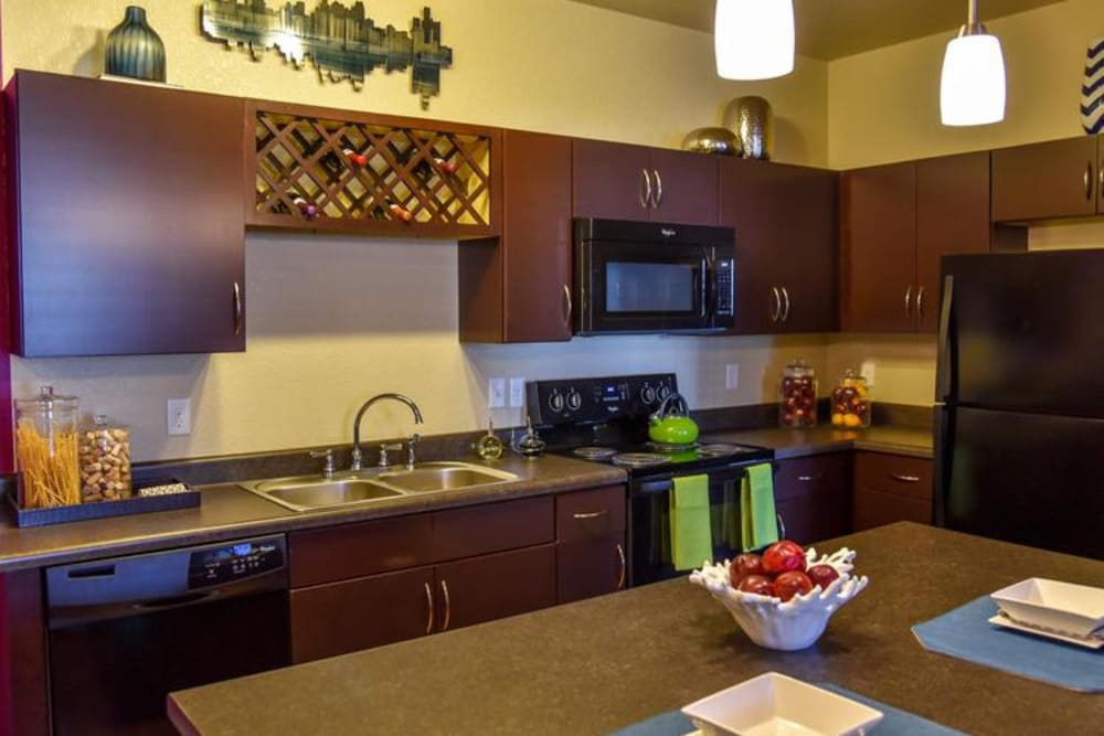 Gourmet Kitchen with Island Counter at Springs at Egan Drive in Savage, MN