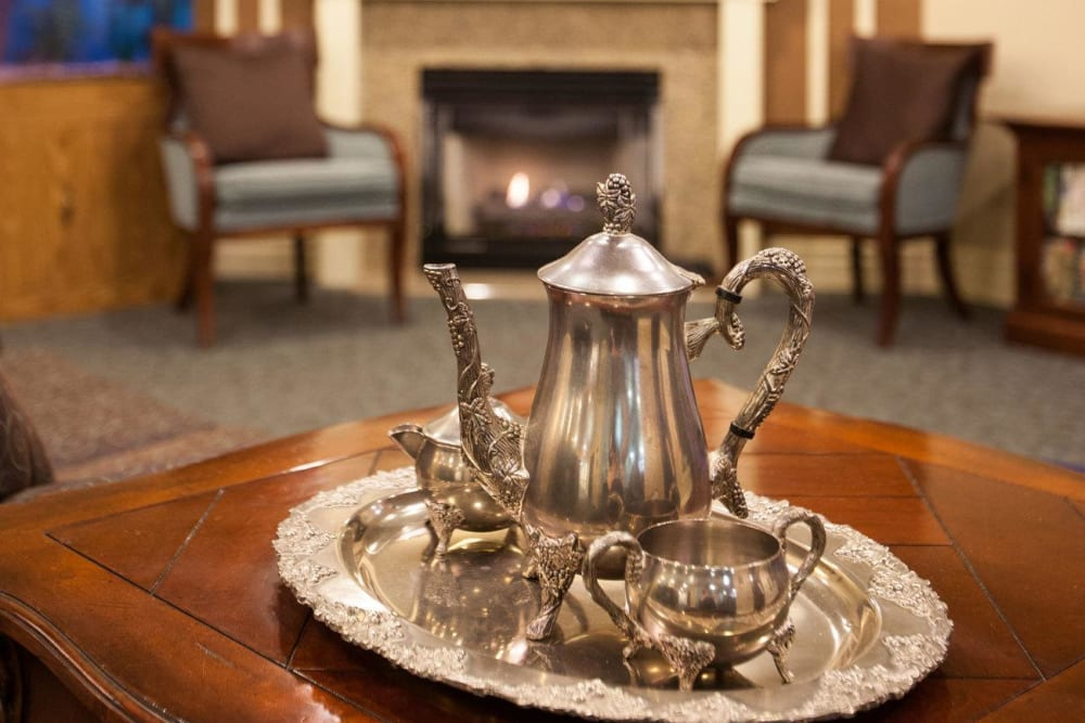 Sterling silver teapot in a lounge at White Oaks in Lawton, Michigan