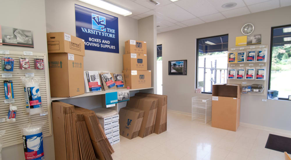 Interior of store with supplies at Virginia Varsity Transfer & Storage in Salem, Virginia