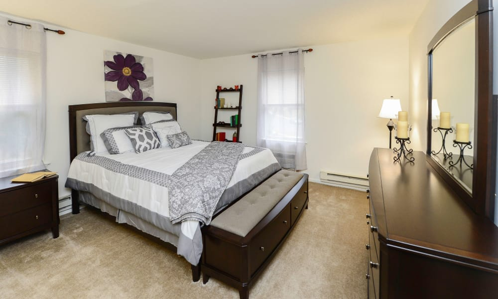 Modern bedroom at apartments in Eatontown, New Jersey