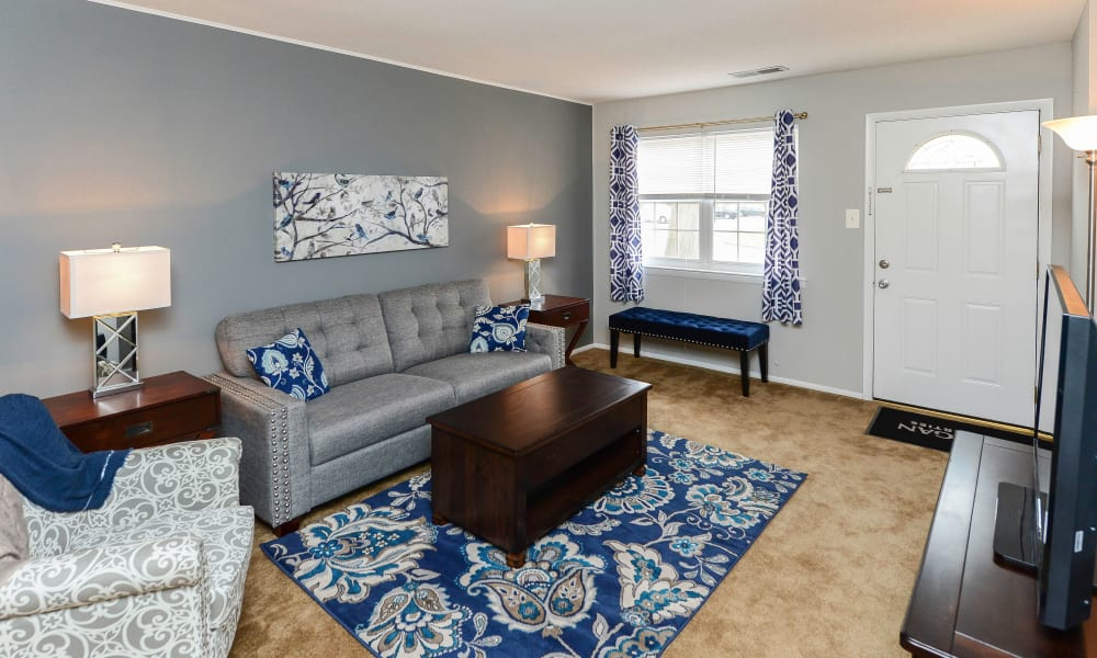 Another model living room at Moorestowne Woods Apartment Homes in Moorestown, NJ