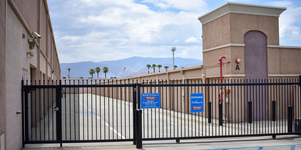 The front gate at STOR-N-LOCK Self Storage in Palm Desert, California