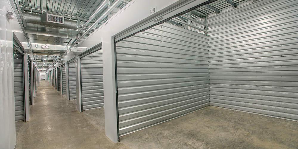 Open indoor units at StorQuest Self Storage in North Miami, Florida
