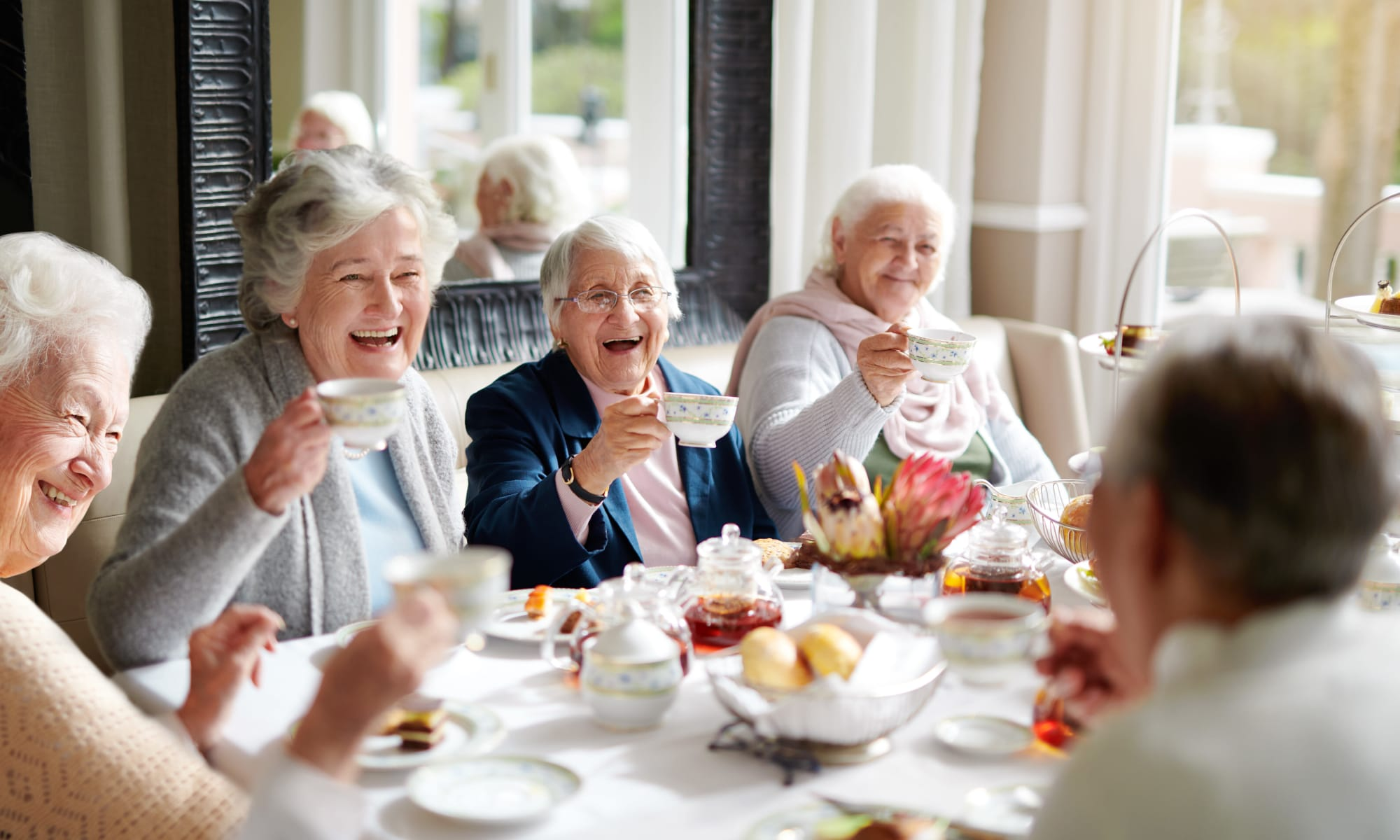 Residents having tea together at Harmony Senior Services in Charleston, South Carolina