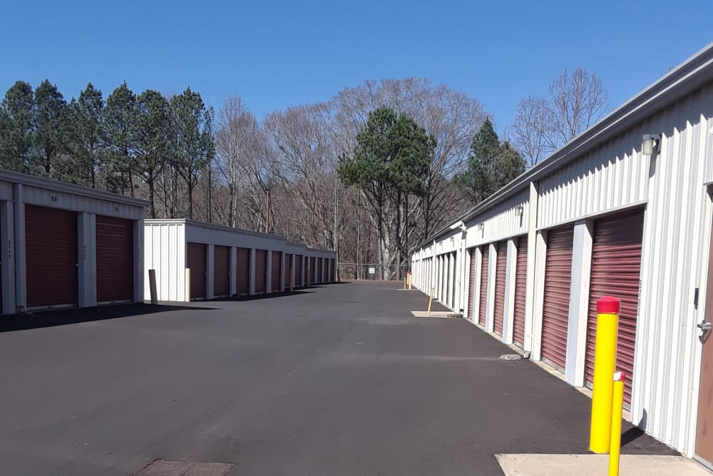 Wide lanes in between storage units at Monster Self Storage in Westminster, South Carolina