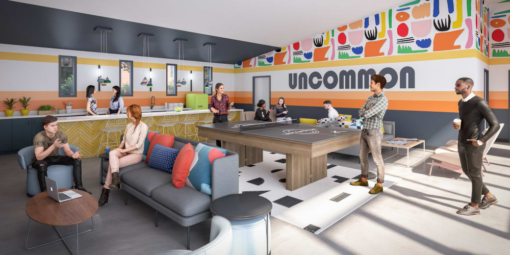 Community clubhouse at UNCOMMON Raleigh in Raleigh, North Carolina