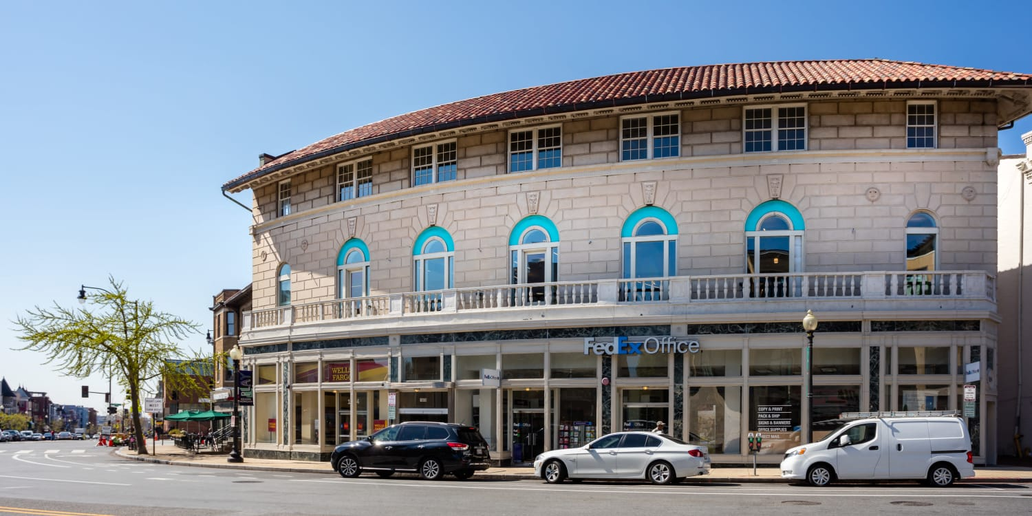 Exterior view of retail building near AdMo Heights in Washington, DC