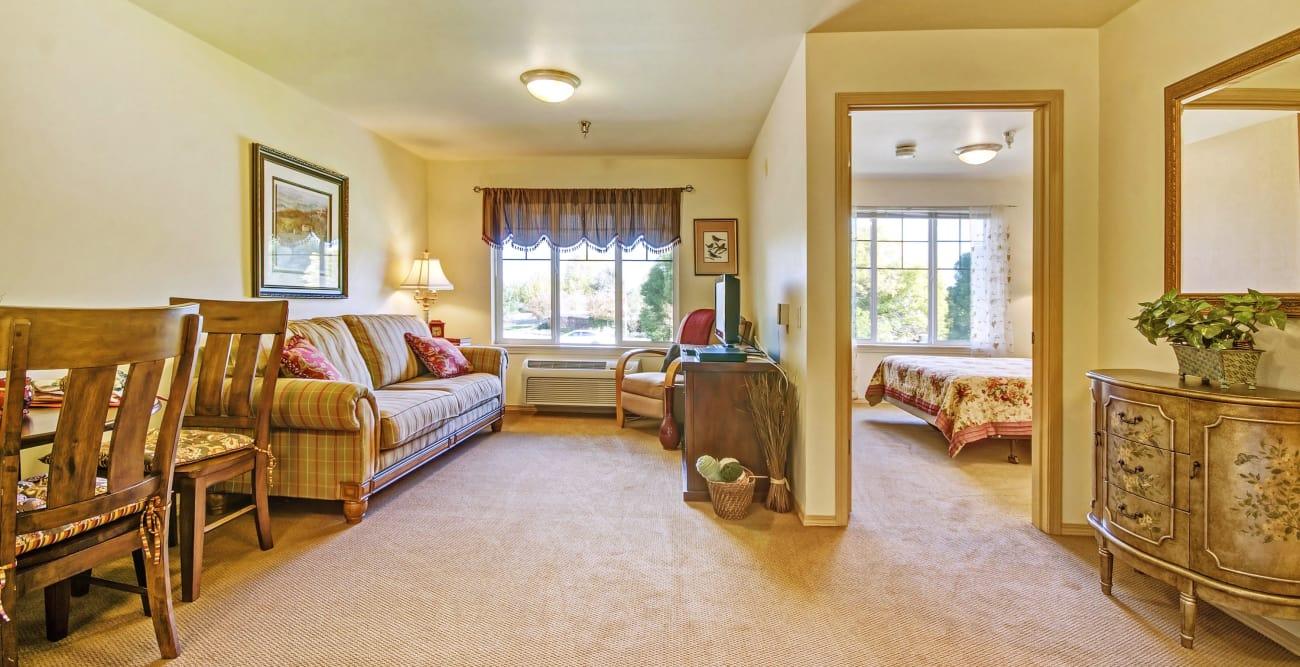 Living space at senior living community in Stockton, California