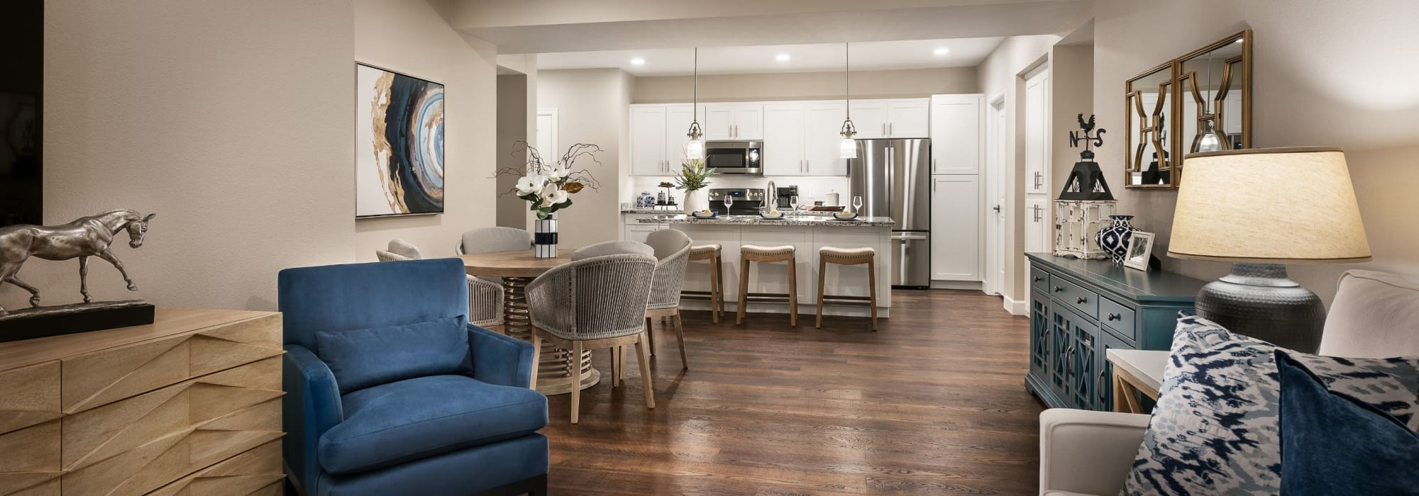 Living room with hardwood floors at San Artes in Scottsdale, Arizona