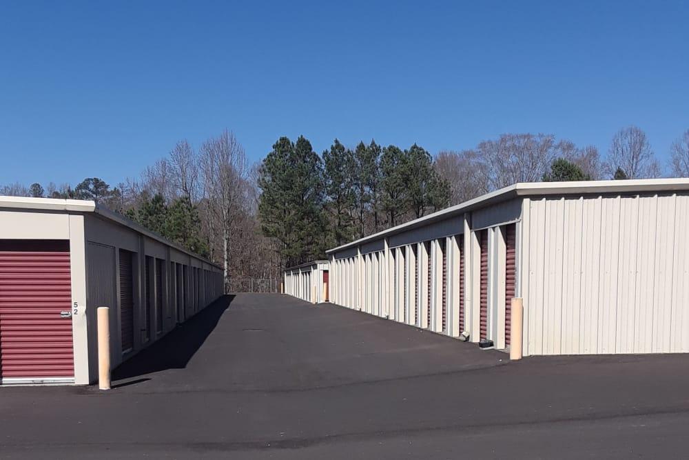 Wide lanes between storage units at Monster Self Storage in Westminster, South Carolina