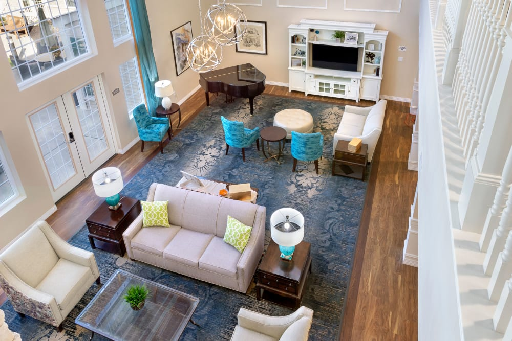 The community living room at Brooklyn Pointe in Brooklyn, Ohio