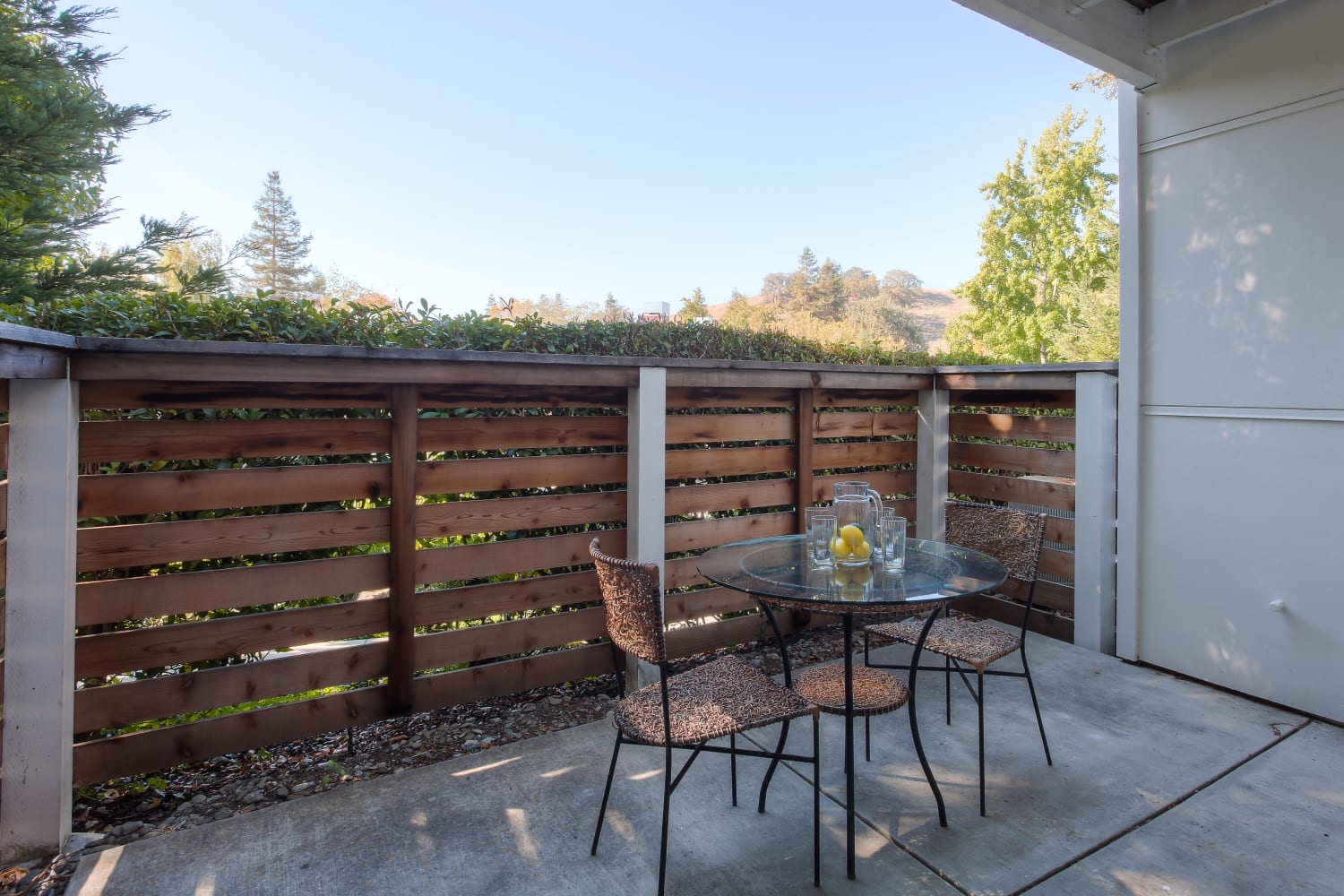 Private patios offered at Cotton Wood Apartments in Dublin, California
