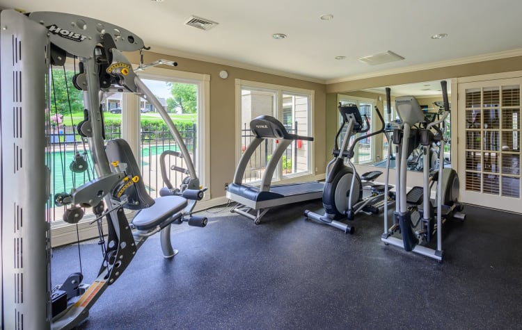 Fitness center for residents with individual workout stations at The Hamilton in Hendersonville, Tennessee