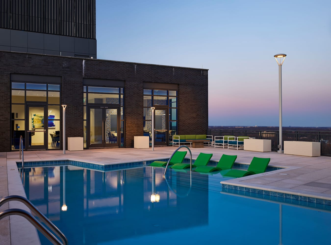 Luxury swimming pool with a view at Solaire 8250 Georgia in Silver Spring, Maryland