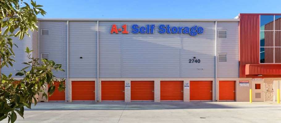 Outdoor units and wide access at A-1 Self Storage in San Diego, California