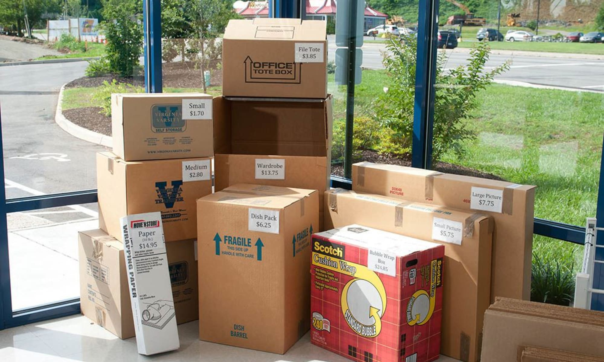 A display of boxes and moving supplies at Virginia Varsity Storage in Salem, Virginia