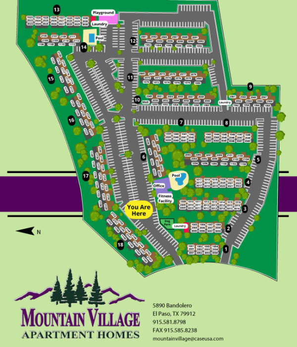 Site map for Mountain Village in El Paso, Texas