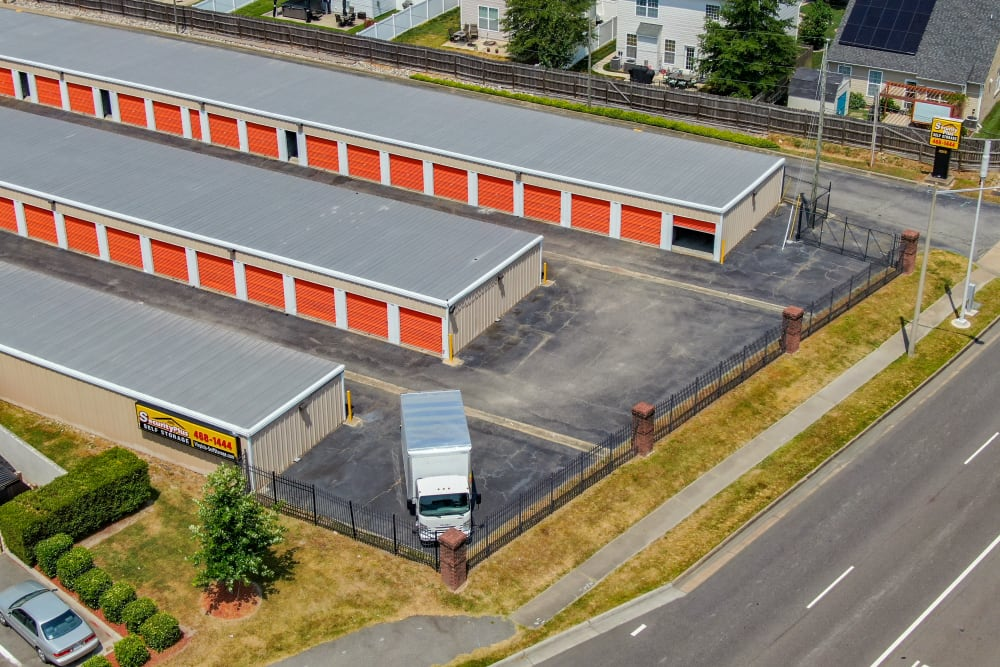 A birds-eye view of the storage units at SecurityPlus Self Storage