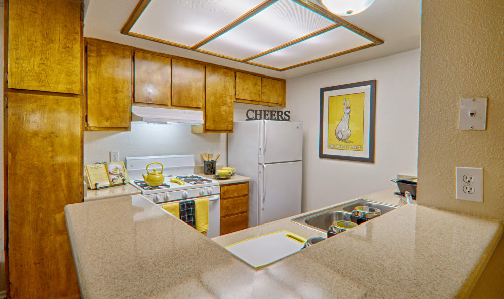 Spacious and modern kitchen at Cordova Park Apartment Homes in Lancaster, CA