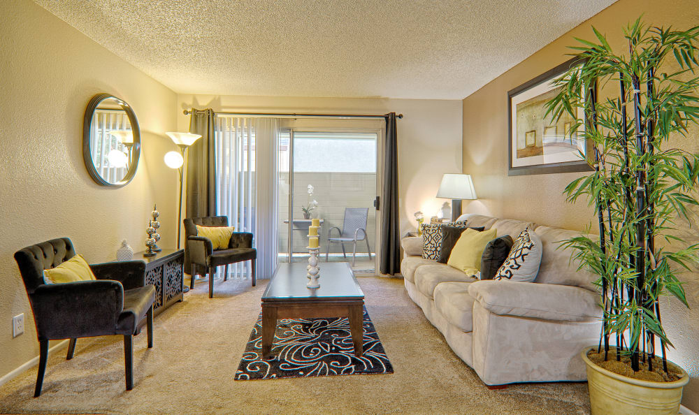Bright and spacious living area at Cordova Park Apartment Homes in Lancaster, CA