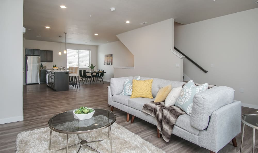 Open floor plan living room at Liberty Point Townhome Apartments in Draper, Utah