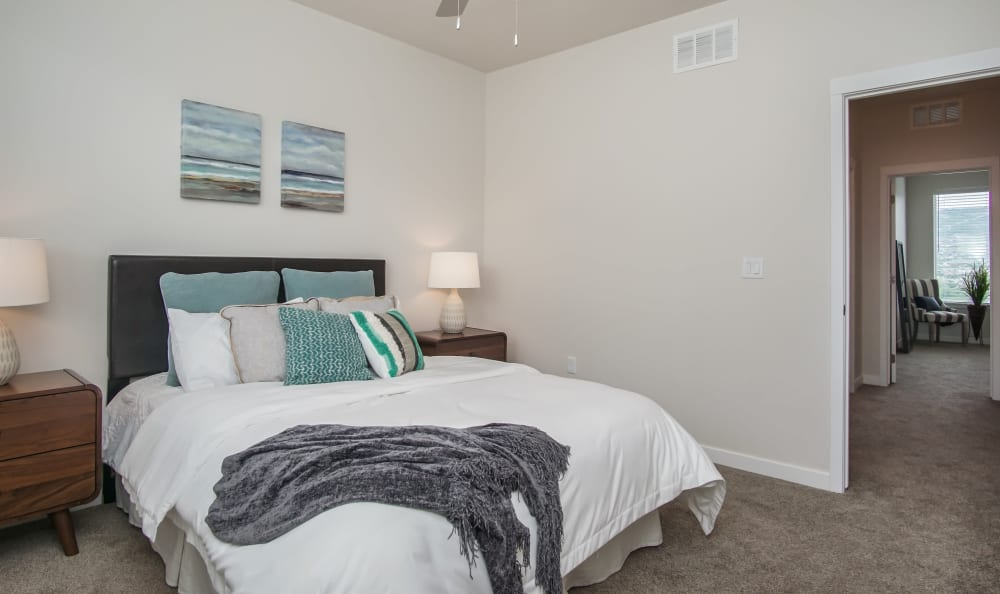 Bedroom at Liberty Point Townhome Apartments in Draper, Utah