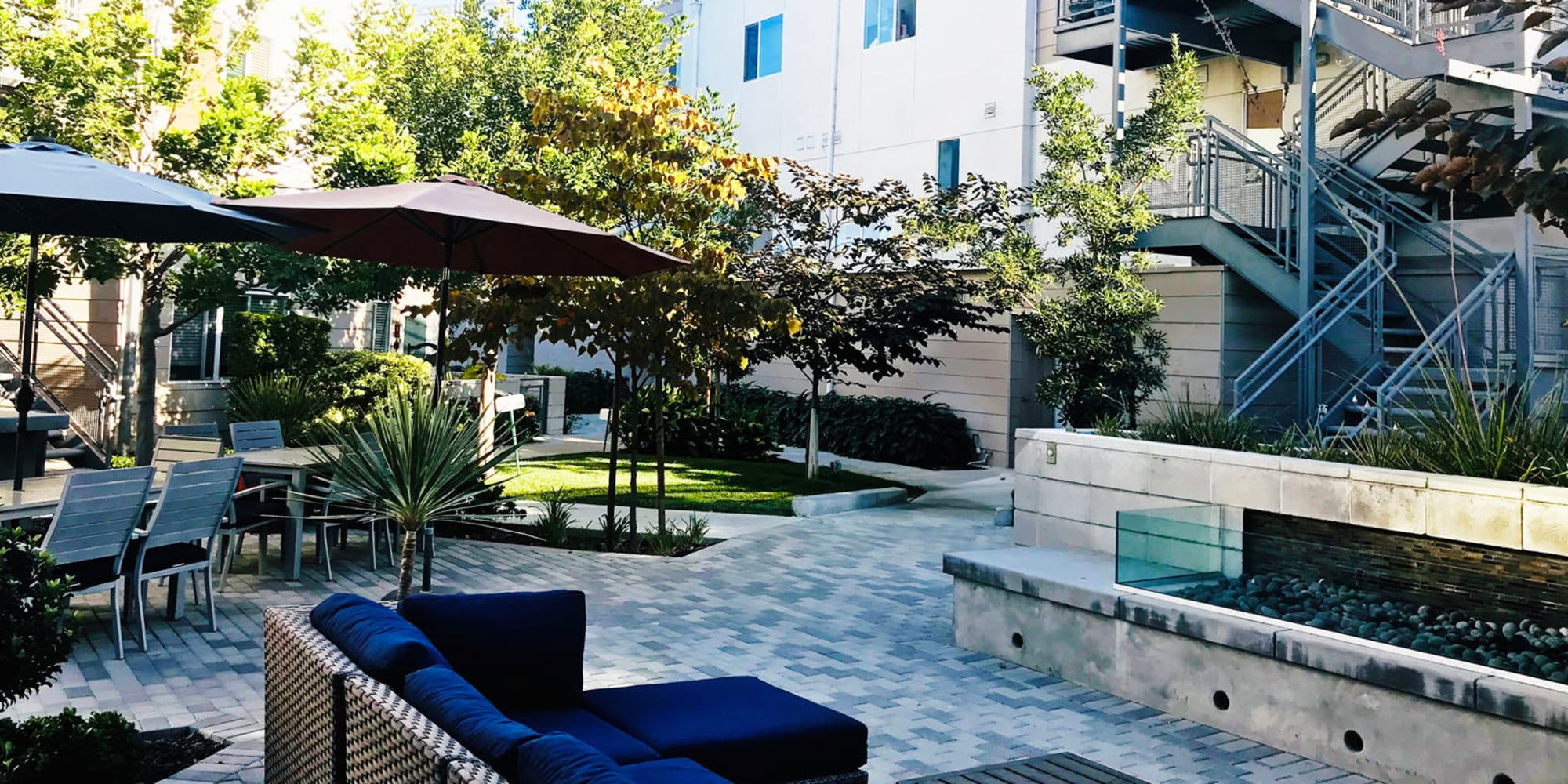 Serene courtyard with mature trees and seating areas at Citron in Ventura, California