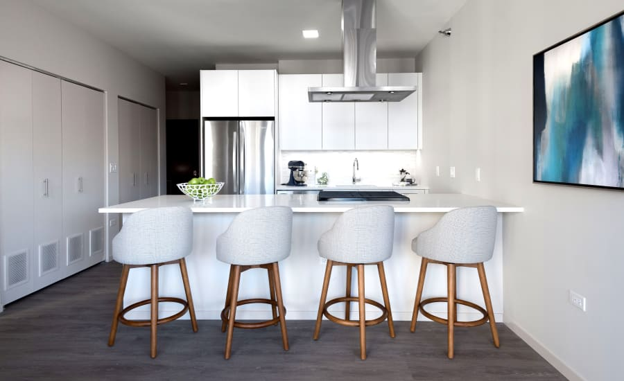 Kitchen island at Residences at 8 East Huron in Chicago, Illinois