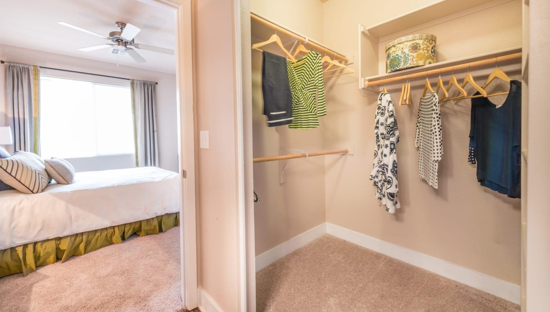 Walk-in closet at Olympus Encantada in Albuquerque, New Mexico