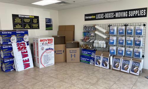 Moving supplies at StorageOne Horizon & Sandy Ridge in Henderson, Nevada