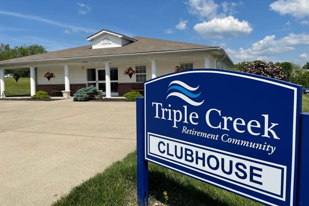 Club house sign at Triple Creek Retirement Community in Cincinnati, Ohio