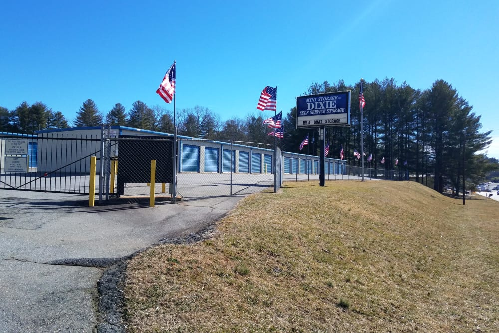 Access gate and storage units at Monster Self Storage in Asheville, North Carolina