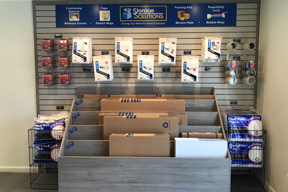 Packing and moving supplies for sale at Storage Solutions in Pomona, California