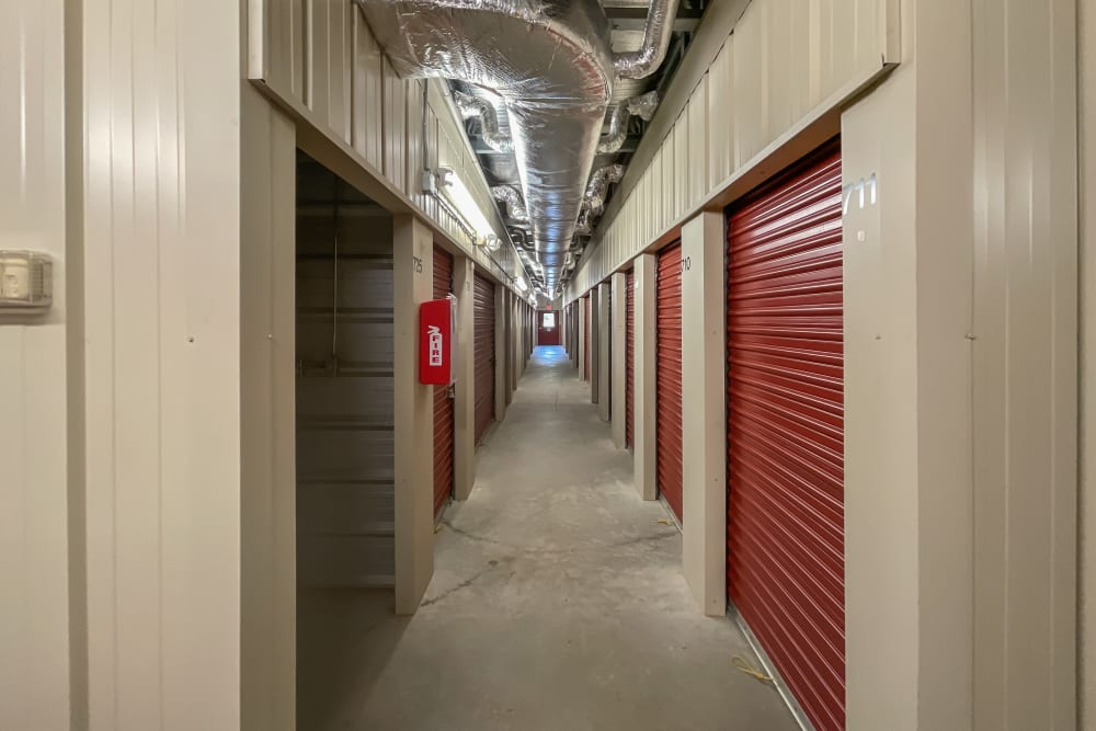 A long hallway of climate-controlled storage in Yorktown, Virginia