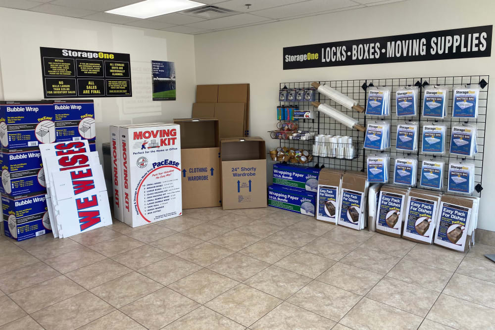 Supplies sold at StorageOne Horizon & Sandy Ridge in Henderson, Nevada