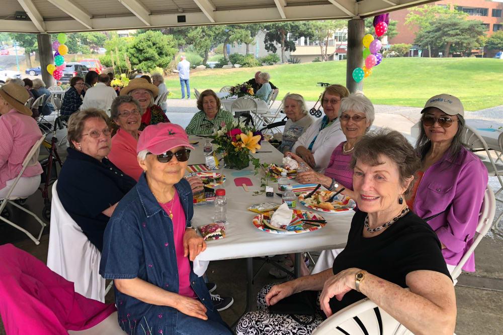 Residents on an outing near Merrill Gardens at Kirkland in Kirkland, Washington.