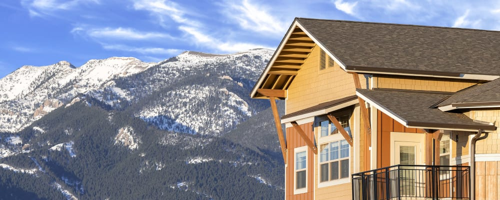 Gorgeous mountain view of balconies at The Springs at Bozeman in Bozeman, Montana