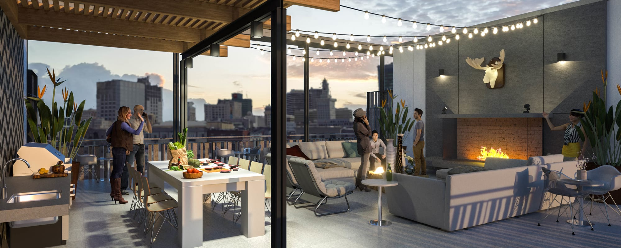 Rooftop patio rendering at The Moran in Oakland, California